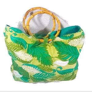 Knitter or Beach Tote in Green Tropical Print